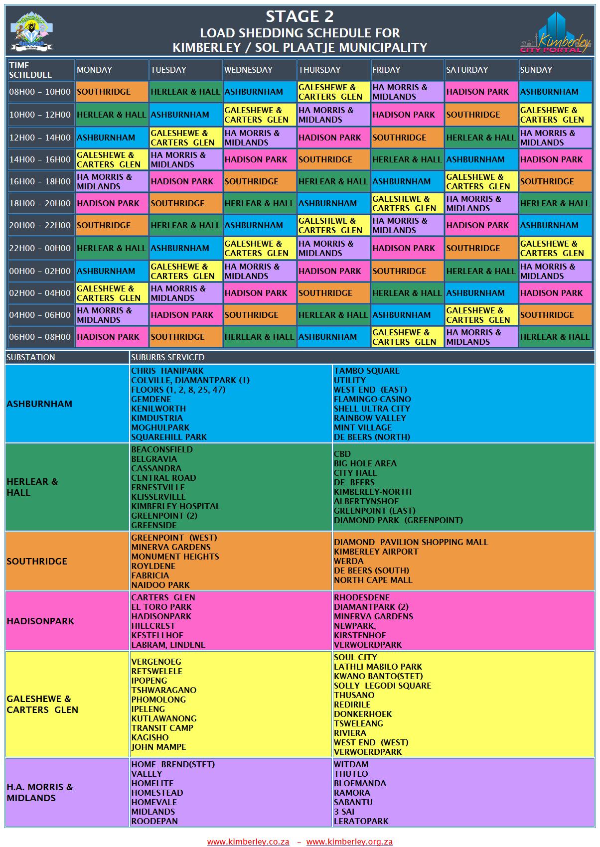 Kimberley Sol Plaatje Stage 2 Loadshedding Schedule
