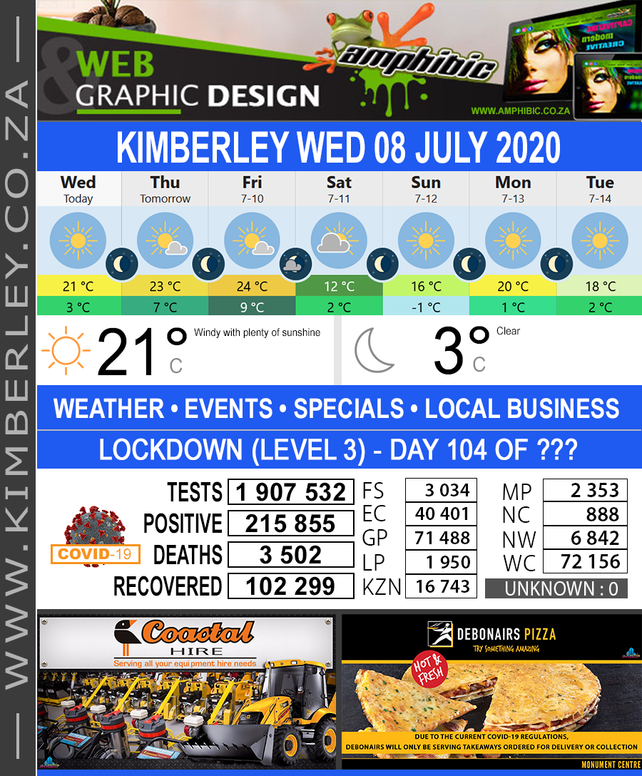 Today in Kimberley South Africa - Weather News Events 2020/06/17Today in Kimberley South Africa - Weather News Events 2020/07/08
