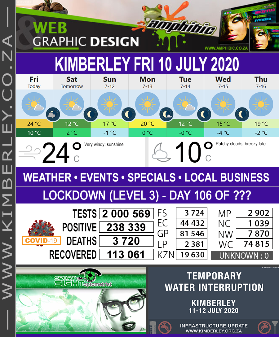 Today in Kimberley South Africa - Weather News Events 2020/06/17Today in Kimberley South Africa - Weather News Events 2020/07/10