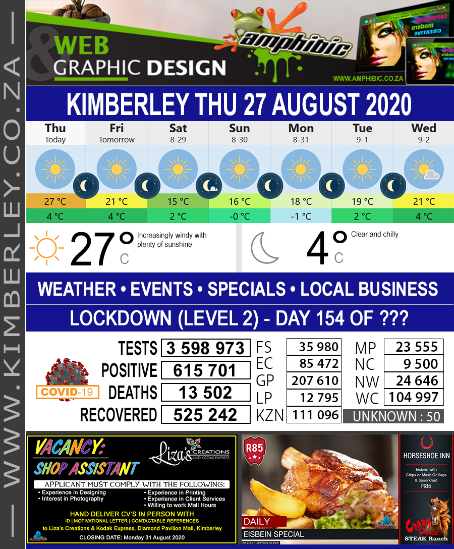 Today in Kimberley South Africa - Weather News Events 2020/06/17Today in Kimberley South Africa - Weather News Events 2020/08/27