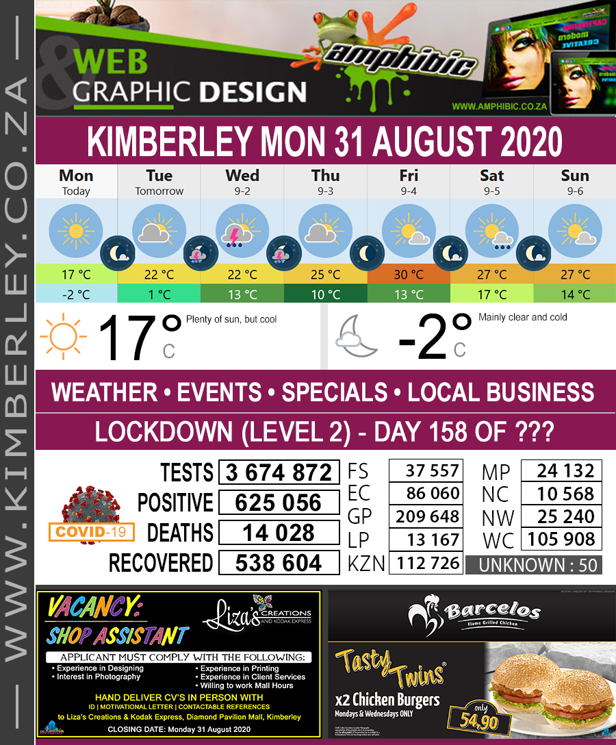 Today in Kimberley South Africa - Weather News Events 2020/06/17Today in Kimberley South Africa - Weather News Events 2020/08/31