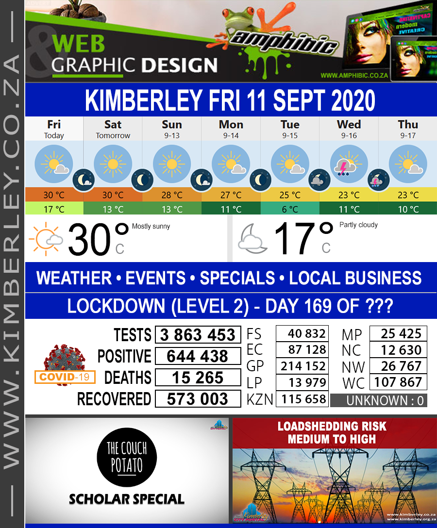 Today in Kimberley South Africa - Weather News Events 2020/06/17Today in Kimberley South Africa - Weather News Events 2020/09/11