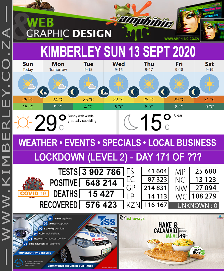 Today in Kimberley South Africa - Weather News Events 2020/06/17Today in Kimberley South Africa - Weather News Events 2020/09/13
