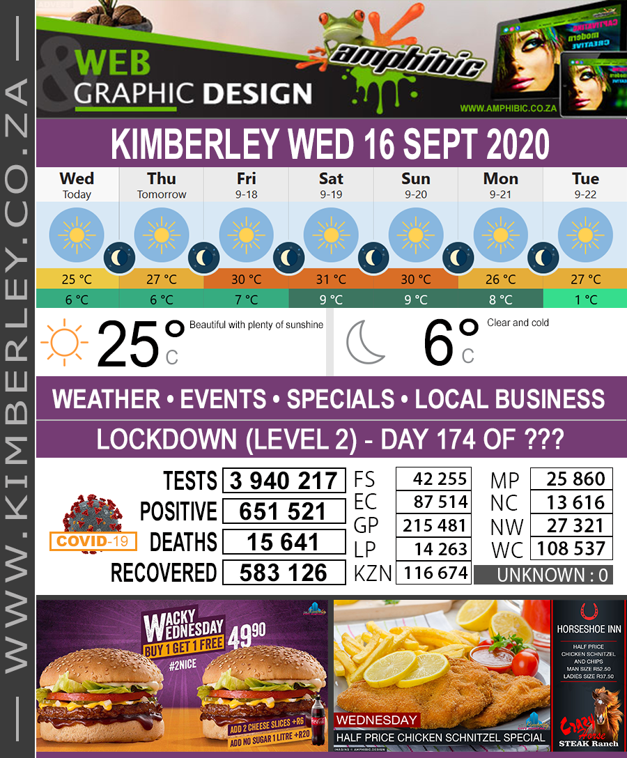 Today in Kimberley South Africa - Weather News Events 2020/06/17Today in Kimberley South Africa - Weather News Events 2020/09/16