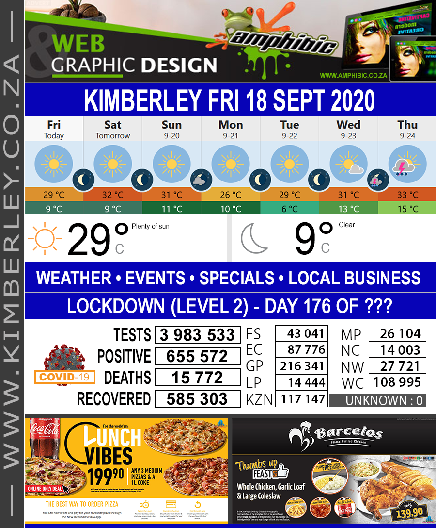Today in Kimberley South Africa - Weather News Events 2020/06/17Today in Kimberley South Africa - Weather News Events 2020/09/18