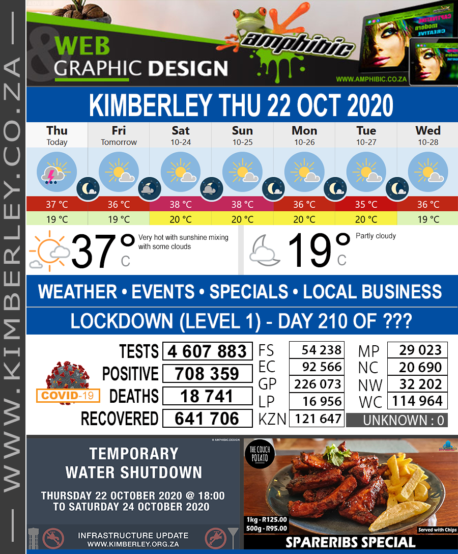 Today in Kimberley South Africa - Weather News Events 2020/06/17Today in Kimberley South Africa - Weather News Events 2020/10/22