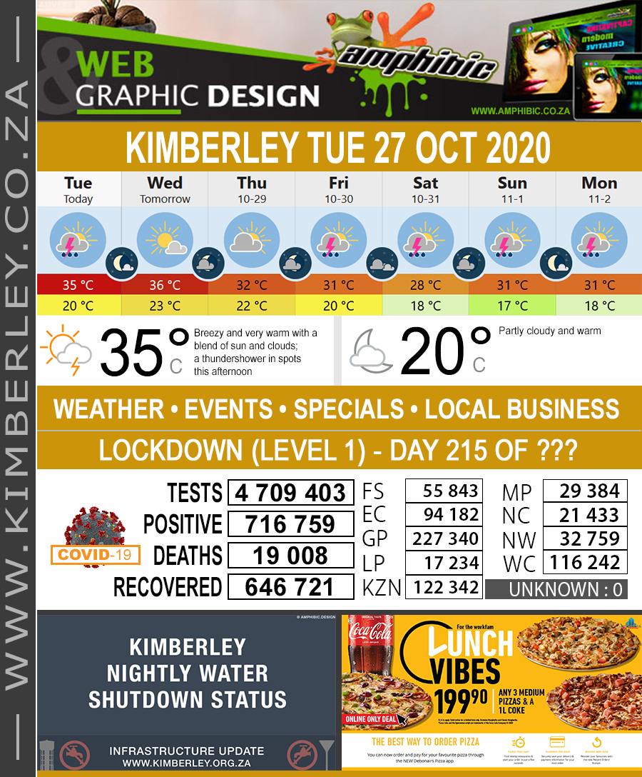 Today in Kimberley South Africa - Weather News Events 2020/06/17Today in Kimberley South Africa - Weather News Events 2020/10/27