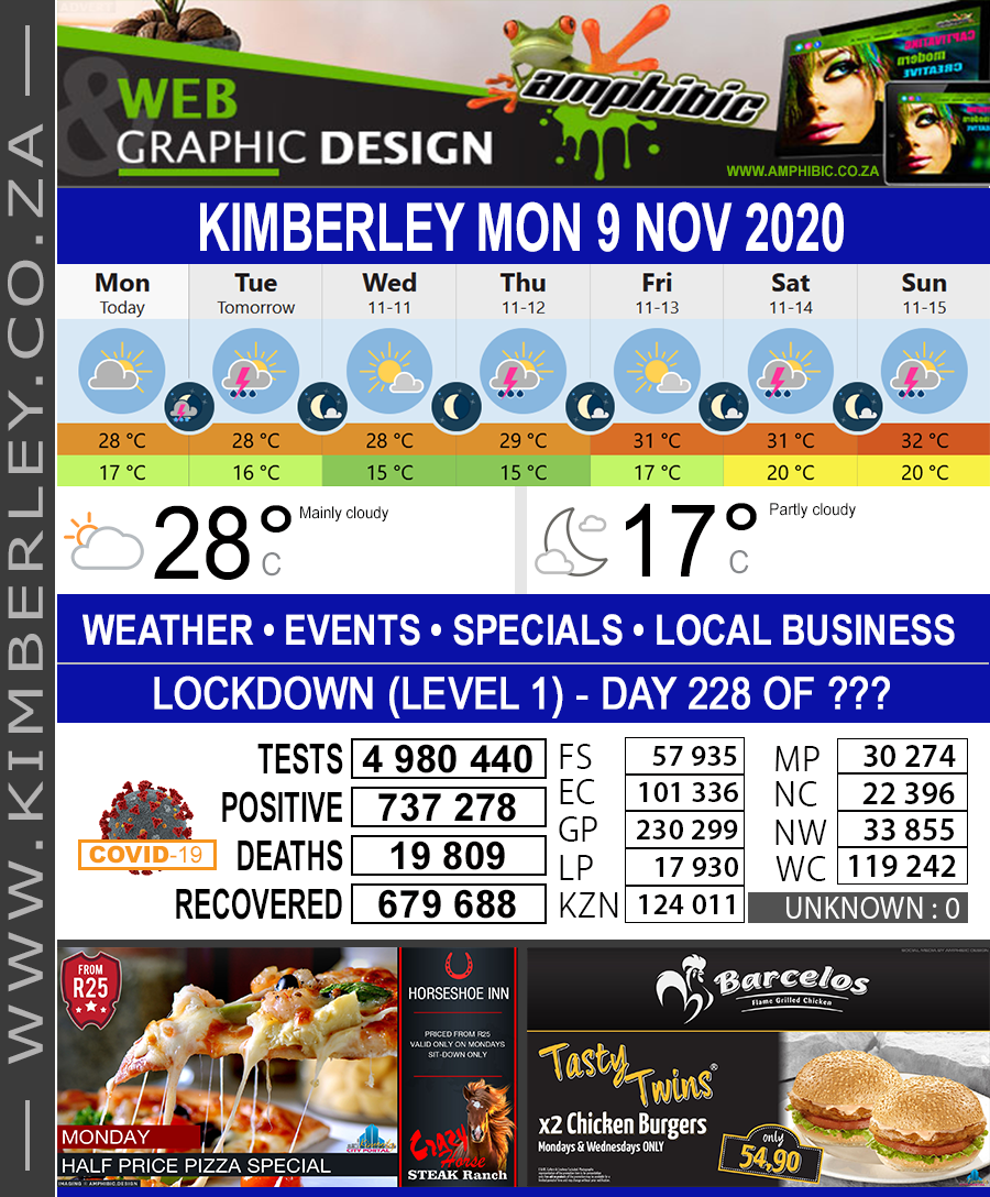 Today in Kimberley South Africa - Weather News Events 2020/06/17Today in Kimberley South Africa - Weather News Events 2020/11/09