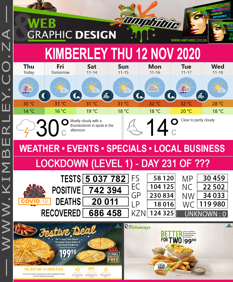 Today in Kimberley South Africa - Weather News Events 2020/06/17Today in Kimberley South Africa - Weather News Events 2020/11/12