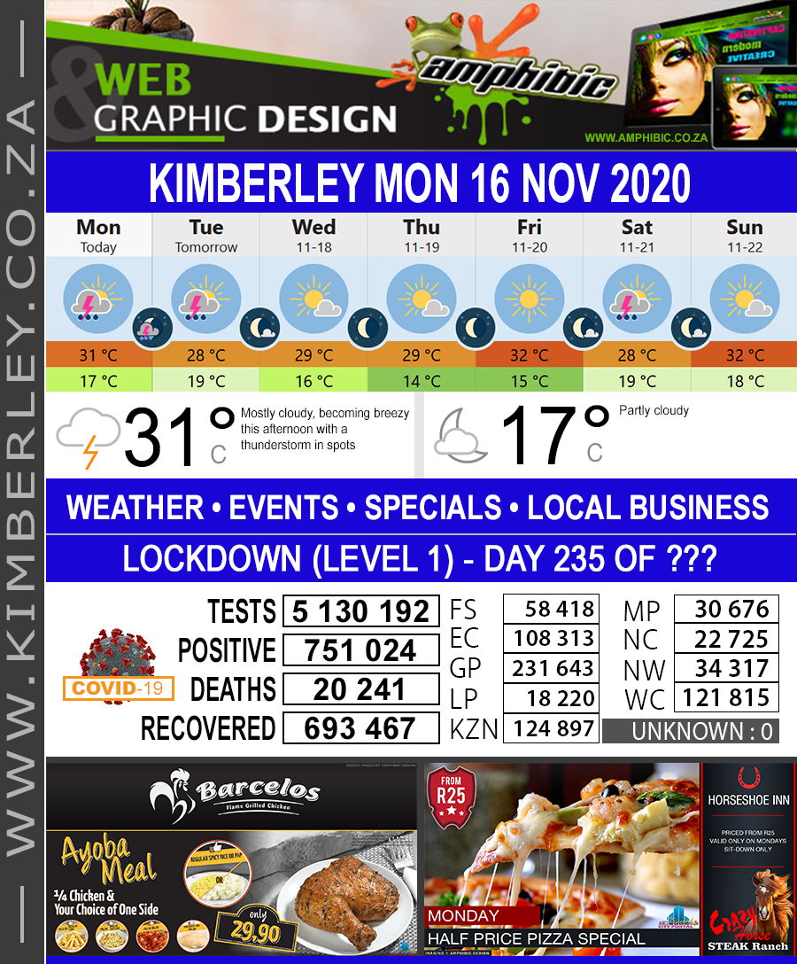 Today in Kimberley South Africa - Weather News Events 2020/06/17Today in Kimberley South Africa - Weather News Events 2020/11/16