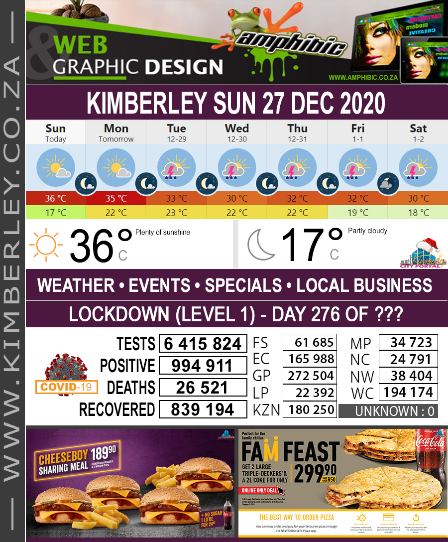 Today in Kimberley South Africa - Weather News Events 2020/06/17Today in Kimberley South Africa - Weather News Events 2020/12/27